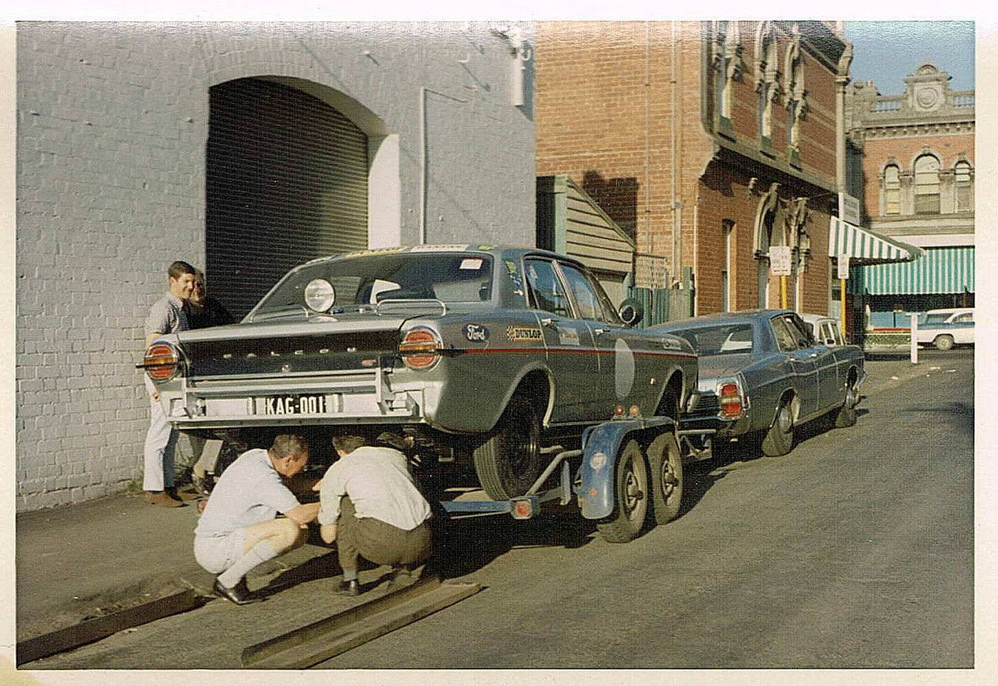 KAG001 on a trailer outside Harry Firth's workshop in Hawthorn before the 1968 Marathon. Pic from Matt Philip.